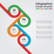Infographic report template with lines and icons. Vector - stock illustration
