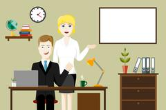 Two business people in an office Stock Illustration