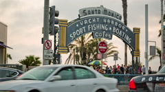 Santa Monica Yacht Harbor Sport Fishing Boating Cafes sign Ocean Ave Sunset LA Stock Footage