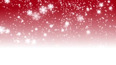 Loop christmas red background with white bokeh and stars snow falling Stock Footage