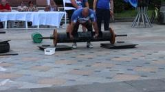 Log Lifting. Strongman sport show. Stock Footage