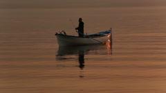 Fisherman back home after fishing in Golyazi,Bursa Stock Footage