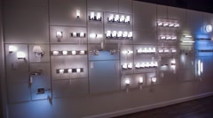 Lighting display showroom wall of lights Stock Footage