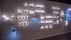 Lighting display showroom wall of lights - stock footage