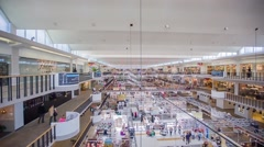 Huge mall with people buying and selling retail goods Stock Footage