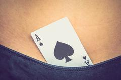 Female sexy body with spades ace card in panties Stock Photos