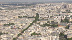 Aerial view above the France capital city Paris, summer season cityscape outdoor - stock footage