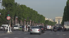Champs Elysees boulevard downtown Paris car traffic moving in the city sunny day - stock footage