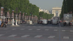 Stock Video Footage of Landmark in Paris, french Arch of Triumph, Champs Elysees boulevard, cityscape