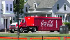 Coca Cola truck makes it's deliveries to local stores Stock Footage