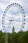 London Eye with Big Ben - stock photo