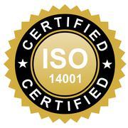 ISO certified emblem, ISO stamp quality symbol - stock illustration