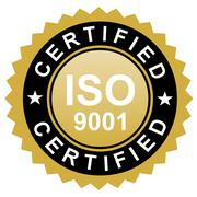 ISO certified emblem, ISO stamp quality symbol Stock Illustration