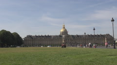 The military museum of Army of France, les invalides dome, green parisian view Stock Footage