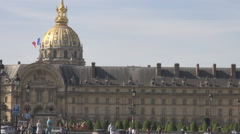 Car traffic, french people, France national flag golden dome of invalids, summer - stock footage