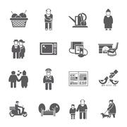 Pensioners Life Icons Set - stock illustration