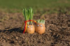 Happy egg family on the soil, Easter - stock photo