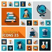 Stock Illustration of University Icons Set