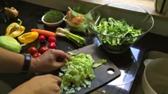 Man preparing a fresh salad  - time lapse movie Stock Footage