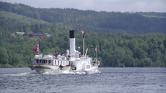 Paddle steamer boat Skibladner dorsal view Stock Footage