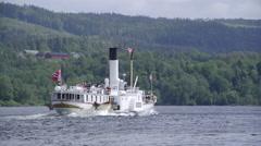 Paddle steamer boat Skibladner dorsal view - stock footage