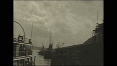 Vintage 16mm film, 1934, Quebec old city pan to Chateau Frontenac Stock Footage