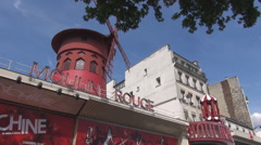 Parisian blue sky, Paris skyine, Moulin Rouge night bar view, visiting France Stock Footage