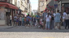 Crowd of people walk, tourist walking in Paris, shopping street, busy capital Stock Footage