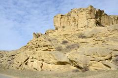 Rock formations along the highway leading to Uplistsikhe cave town,Georgia - stock photo