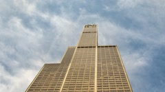 Time laps Willis tower and move clouds (only) - stock footage