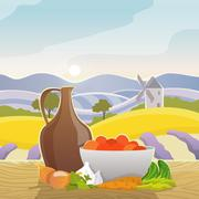 Rural Landscape With Still Life Stock Illustration