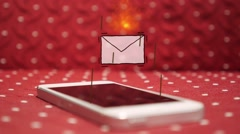 Stock Video Footage of Get New Urgent SMS/E-mail on Smart Phone. Animation Message Icon in Fire