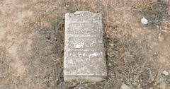 Abandoned tombstones at the Old Tartar Cemetery Astrakhan Russia Stock Footage