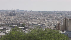 Aerial shot over Paris France, Sacre Coeur high hill in the city, architecture - stock footage