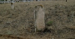 Medieval muslim tombstones on Old Tartar Cemetery in Astrakhan, Russia Stock Footage