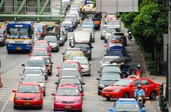 BANGKOK - AUG 23: Daily traffic jam in the afternoon on August 23, 2009 in Ba Stock Photos