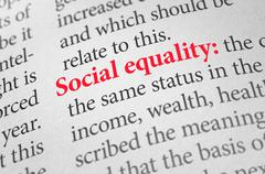 Definition of the term Social equality in a dictionary - stock photo