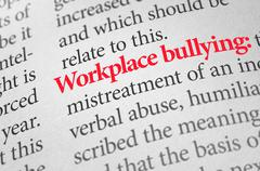 Definition of the term Workplace bullying in a dictionary - stock photo