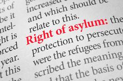 Definition of the term right of asylum in a dictionary Stock Photos