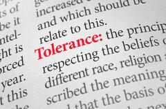 Definition of the word Tolerance in a dictionary Stock Photos
