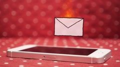 Stock Video Footage of New Urgent SMS/E-mail on Smart Phone. Very Important Letter. Hot Animation