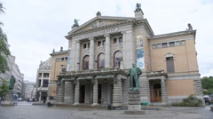 National Theater Oslo Norway Stock Footage