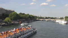 Stock Video Footage of Big boat floating on Seine in Paris tourists visit France landmark, water motion