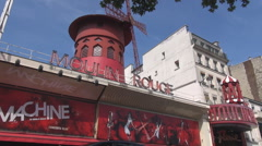 Vintage house at Moulin Rouge in Paris, nighttime with dance, music - stock footage