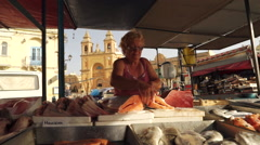 Maltese Fish Market in Plaza - stock footage