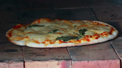 HD Footage close up of Pizza baked in a stone oven Stock Footage
