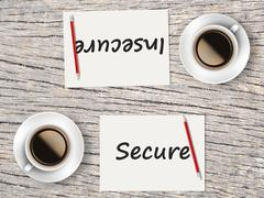 Business Concept : Comparison between secure and insecure Stock Photos