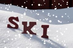 Ski On Snow With Snowflakes Christmas Season Stock Photos