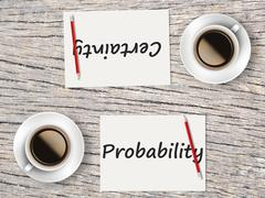 Business Concept : Comparison between probability and certainty Stock Photos