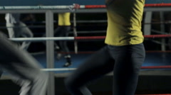Woman doing sporty workout before training with a personal trainer Stock Footage